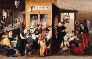 Brunswijkse Monogrammist 'Bordeelscène met ruziënde prostituees' ca. 1530 (Gemäldegalerie, Berlijn)