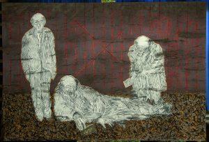 Jeroen Krabbé, 6, 7, 8 juli 1943. Gemengde technieken, 150 x 220 cm, 2010