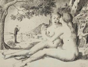 Paul Delvaux - De vriendinnen, 1940, Oost-Indische inkt, gewassen, op papier, 40 x 55 cm. © Fondation Paul Delvaux, Sint-Idesbald/Belgium, c/o Pictoright Amsterdam 2017.