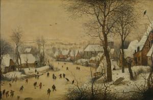Pieter Bruegel 'Winterlandschap met vogelknip' 1565 (Koninklijke Musea voor Schone Kunsten van België, Brussel)