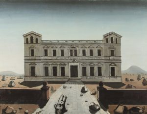 Paul Delvaux - Het bouwvallige paleis, 1935 - olieverf op doek, 70 x 90 cm. © Fondation Paul Delvaux, Sint-Idesbald/Belgium, c/o Pictoright Amsterdam 2017.